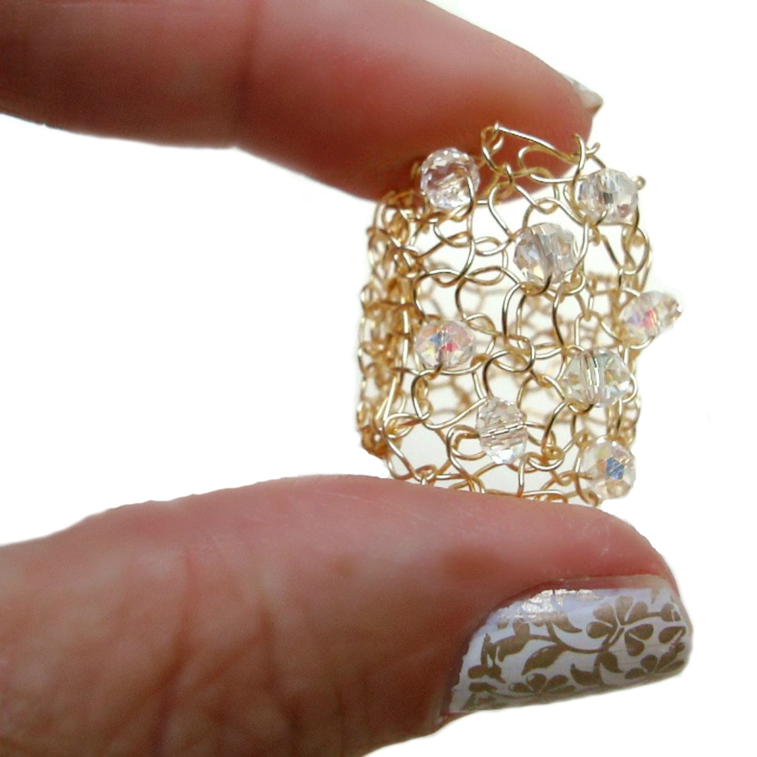 Big Gold Ring Crystal Bling Wire Knit Jewelry Sparkling Crystals ...