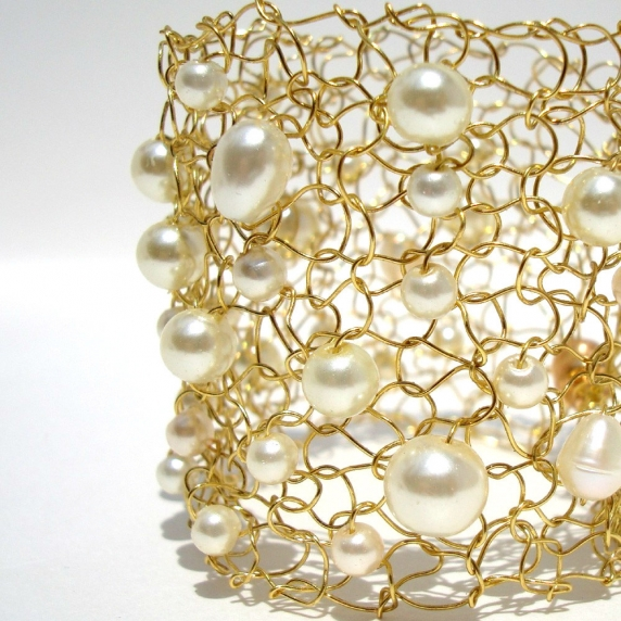 Gold Ivory Bridal Jewelry Cuff Bracelet Ivory Pearl Bracelet Gold Wedding Jewelry Handmade Wire