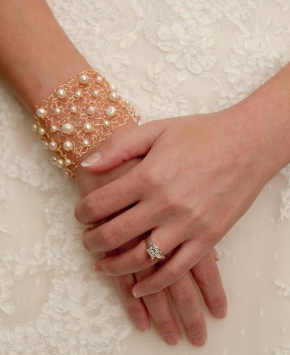 Gold Ivory Bridal Jewelry Cuff Bracelet