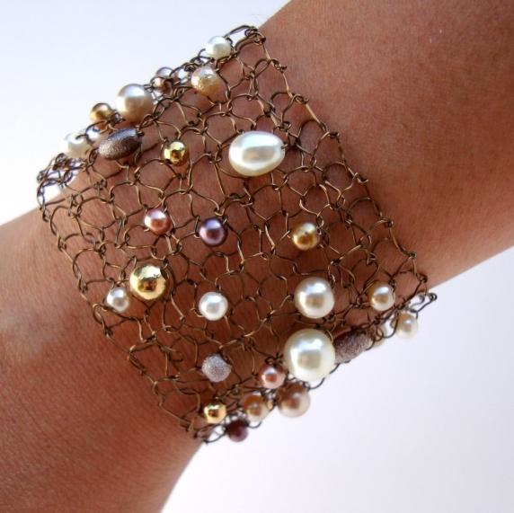 Wide Copper Wire Cuff Lace Mesh Arm Cuff Ivory Pearl