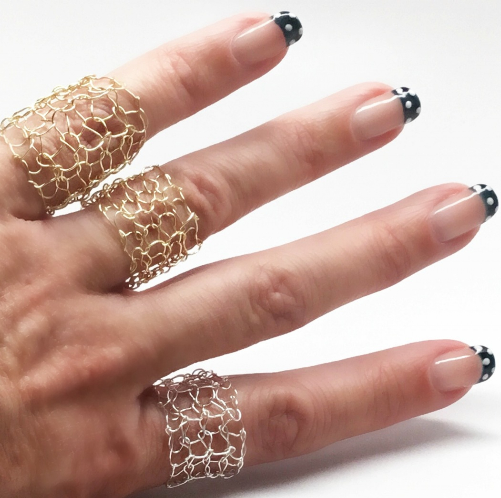Wire Bands: Silver Mesh Ring Wire Knit Intricate Wire Lace Band Ring