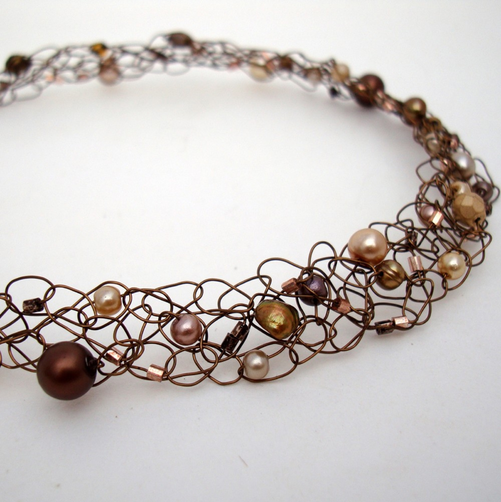 Copper Necklace Chocolate Gold Beaded Wire Knit Choker Collar ...