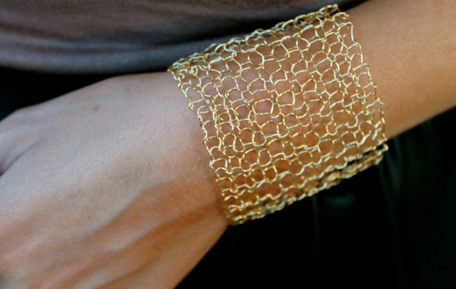 Simple Wide Gold Cuff Bracelet Y Metallic Wire Mesh Hand Knit Lace Minimal Chic Jewelry