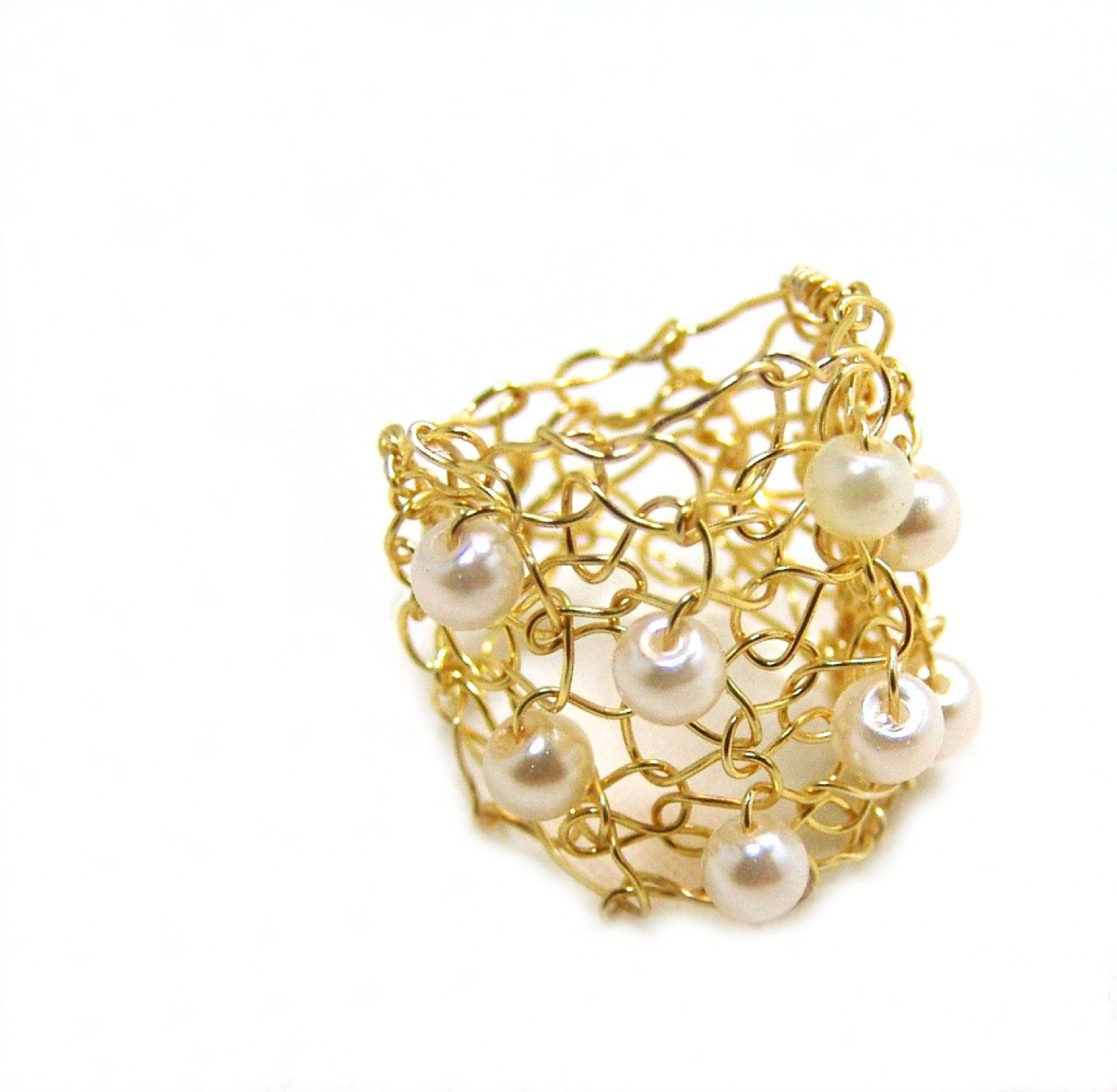 Big Gold Ring Ivory Cream Pearl Cocktail Ring Wire Knit Jewelry