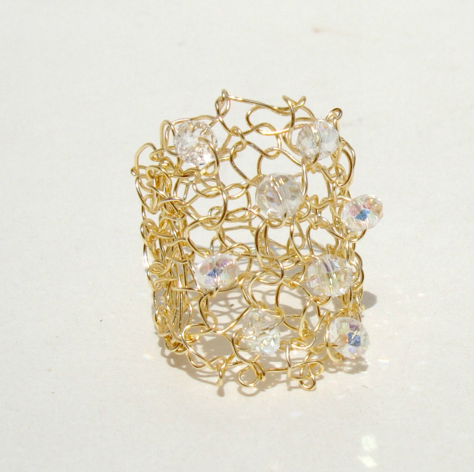 Big Gold Ring Crystal Bling Wire Knit Jewelry Sparkling Crystals