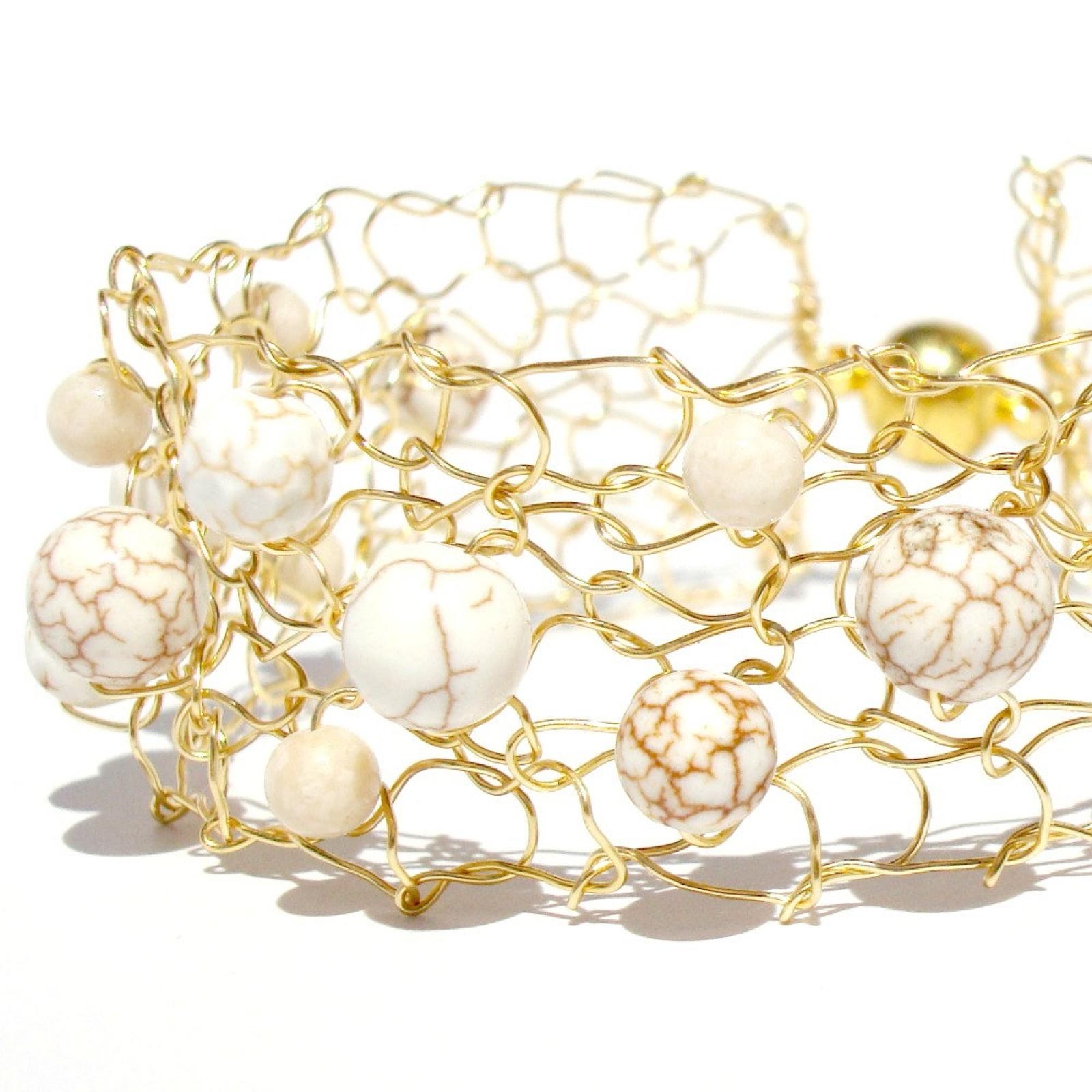 White Turquoise Bracelet Gold Cuff Bracelet Minimal Summer Jewelry