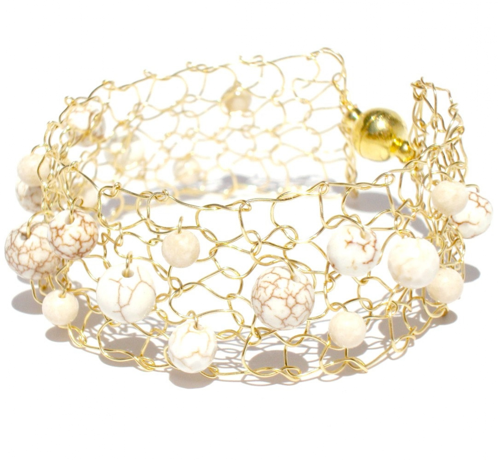 knit white turquoise summer minimal bracelet delicate thin jewelry product cuff gold wire p