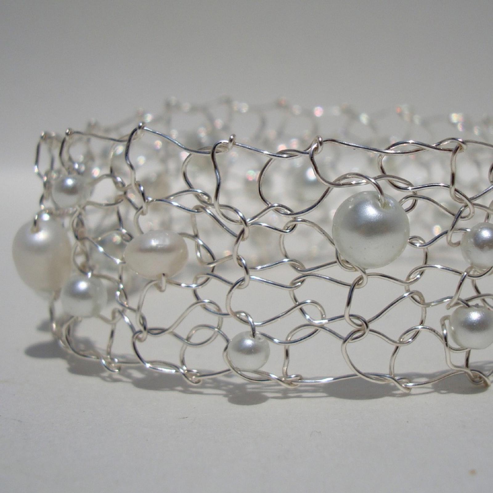 Delicate Wedding Jewelry / White Pearl Thin Cuff / Luminous Beaded ...