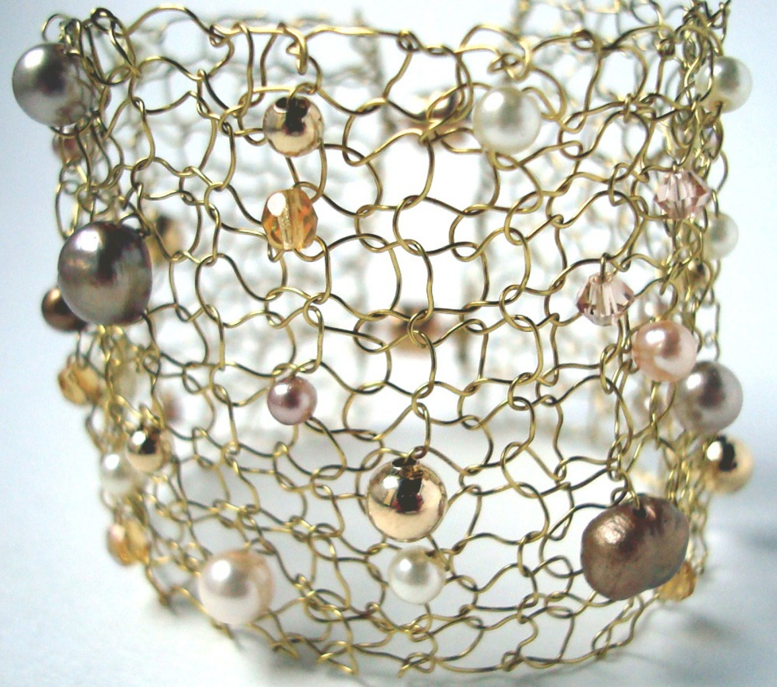 Wide Gold Cuff Bracelet Wire Knit Jewelry Pearl Bracelet