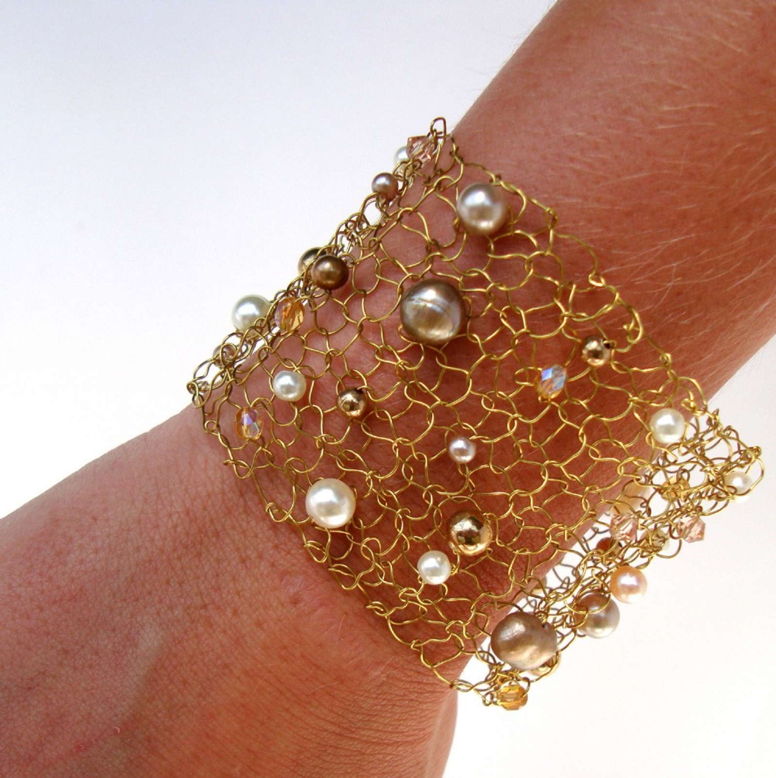 Wide Gold Cuff Bracelet Wire Knit Jewelry Pearl Modern Chic Mesh Lace Arm