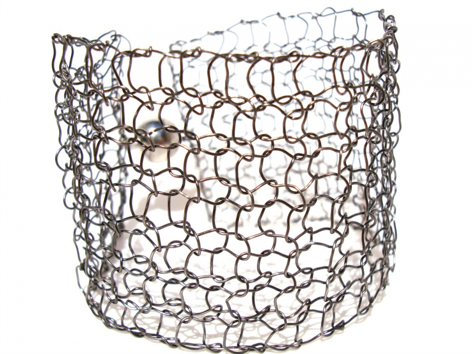 Metallic Cuff Bracelet Simple Chic Knitted Wire Mesh Arm Cuff Slate ...