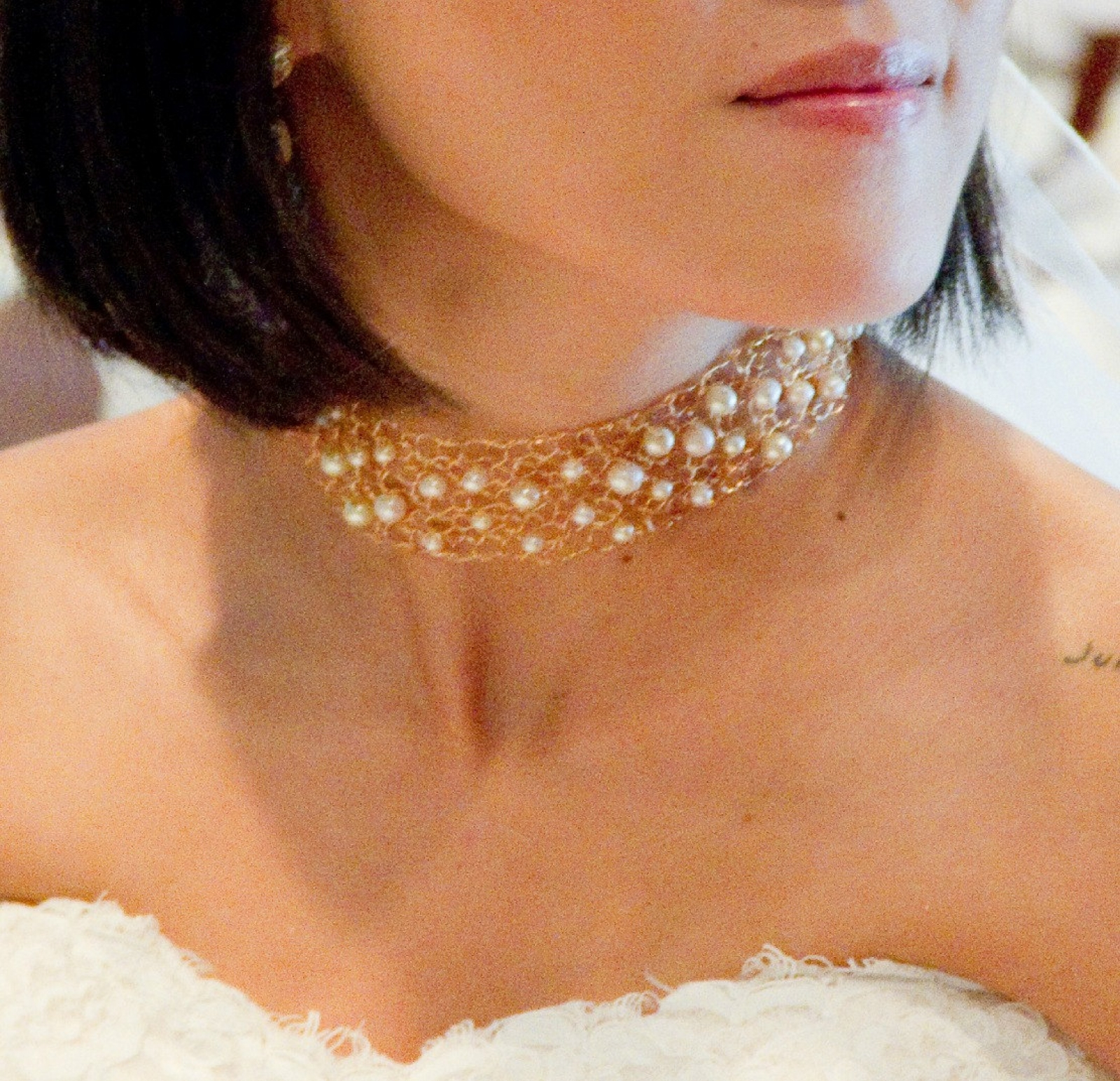 Wedding Bridal Necklace Beautiful Gold Choker Delicate Lace