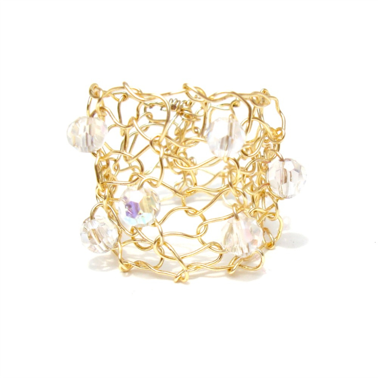 Little gold ring aurora borealis crystal gold wire knit ring ...