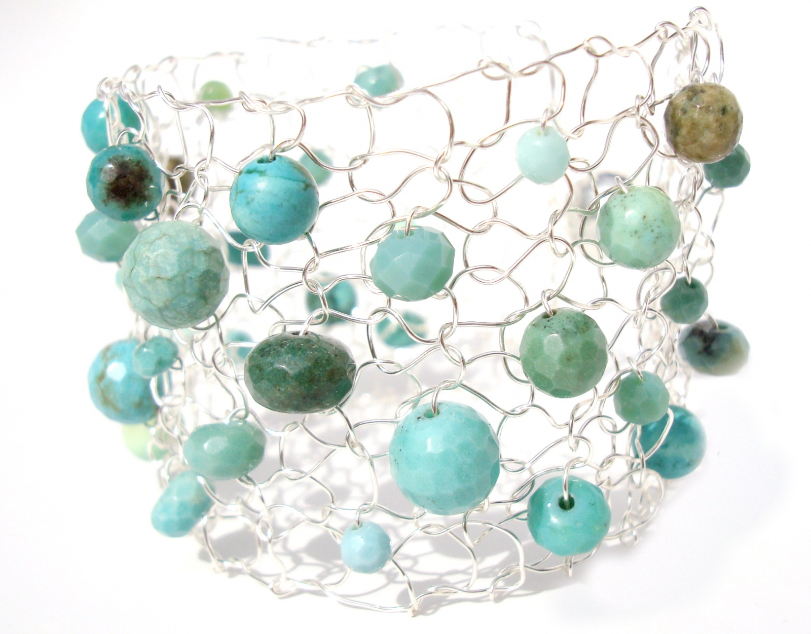 Turquoise & Green Opal Silver Cuff Bracelet / Limited Edition Beaded ...
